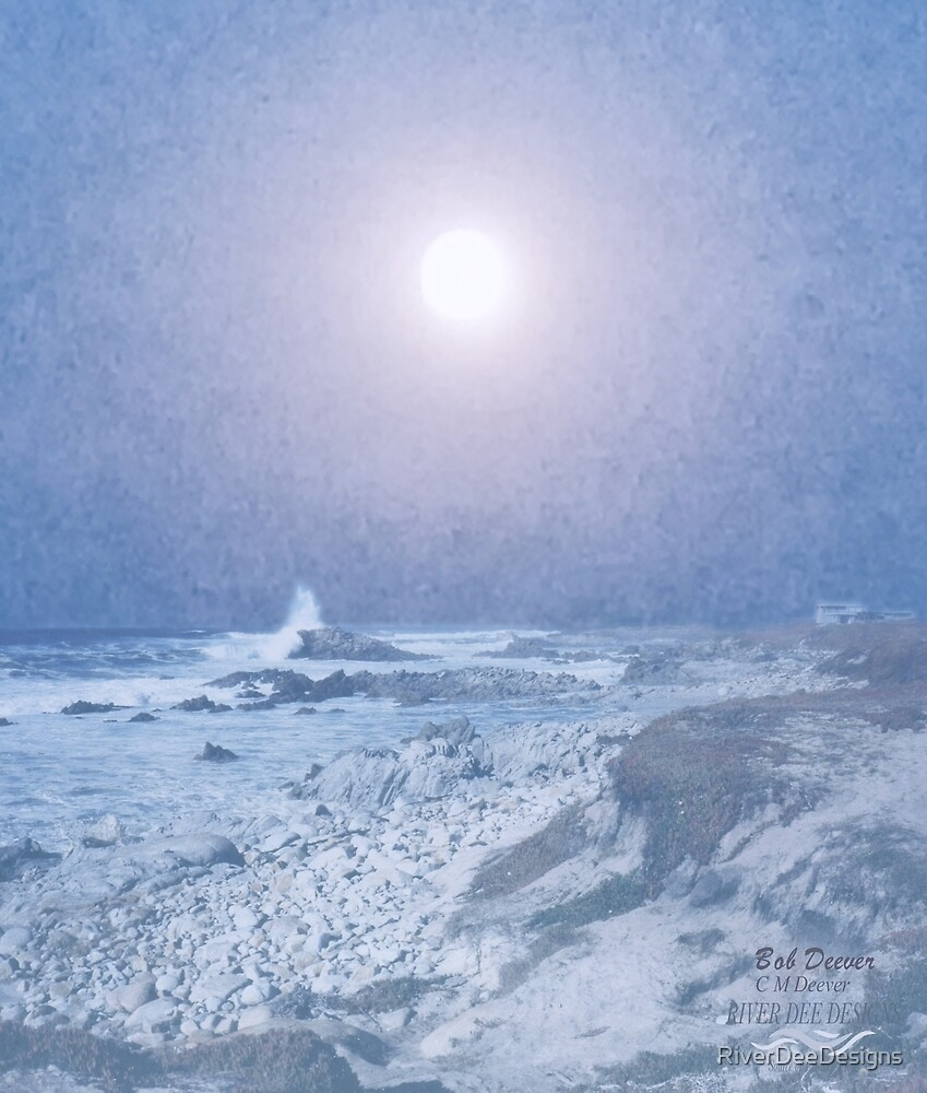 Pale Moon's Rise Above The Shore by RiverDeeDesigns