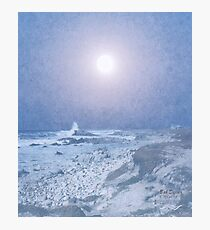 Pale Moon's Rise Above The Shore Photographic Print