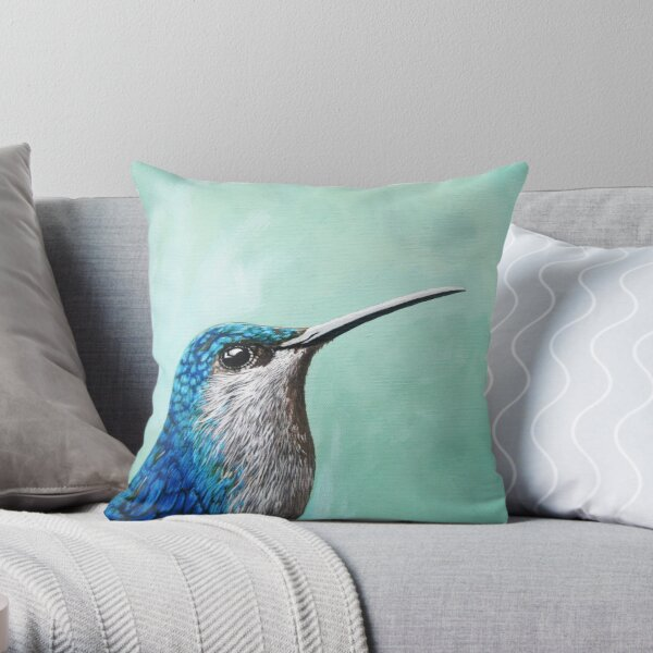 Spring is Humming - Hummingbird realistic painting Throw Pillow