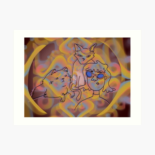 Psychedelic Cat Party  Art Print