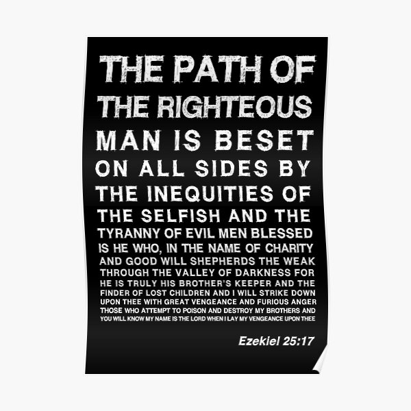 Ezekiel 25:17 Blanc Poster