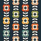 Mod-Blumen in Retro-Farben auf Holzkohle von daisy-beatrice
