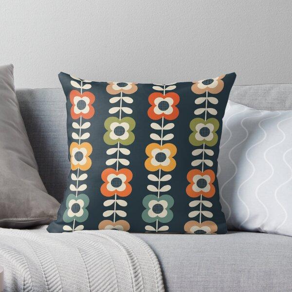 Mod flores en colores retro en carbón de leña Cojín