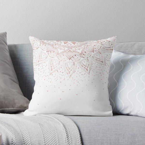 Elegant rose gold mandala confetti design Throw Pillow