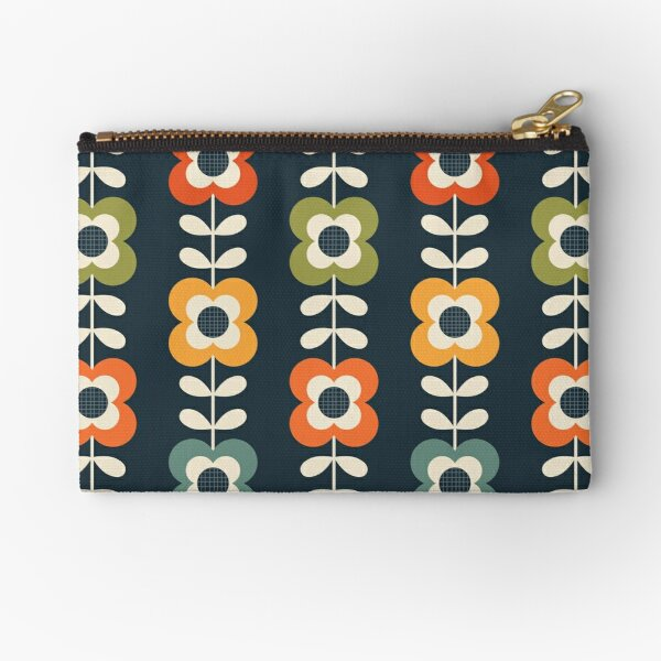 Mod Flowers in Retro Colors on Charcoal Zipper Pouch