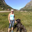 Annbjørg and Padge on our way to the mountains by Annbjørg  Næss