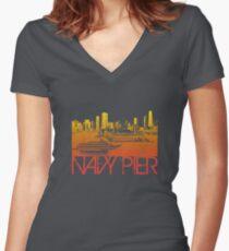 Chicago Navy Pier Skyline T-shirt Design Women's Fitted V-Neck T-Shirt