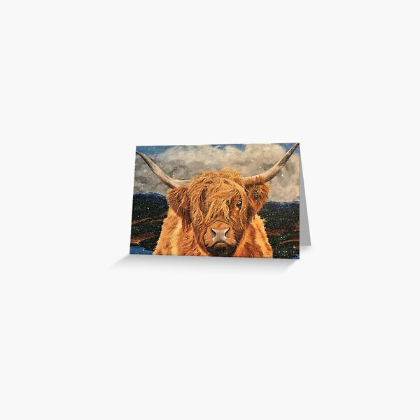 Highland Cow in Early Snow Greeting Card (Blank) Greeting Card
