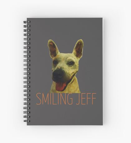 Smiling Jeff with Orange Text Spiral Notebook
