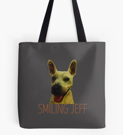 Smiling Jeff with Orange Text Tote Bag