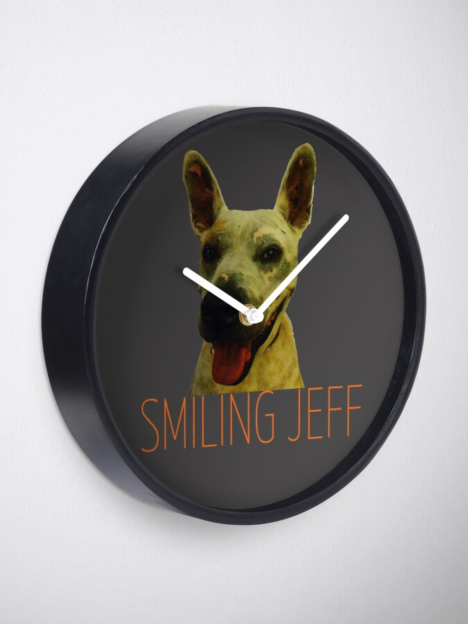 Alternate view of Smiling Jeff with Orange Text Clock