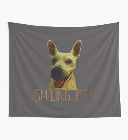 Smiling Jeff with Orange Text Wall Tapestry