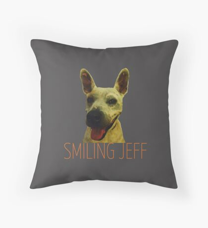 Smiling Jeff with Orange Text Floor Pillow
