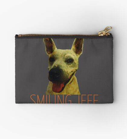 Smiling Jeff with Orange Text Zipper Pouch