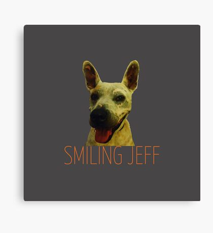 Smiling Jeff with Orange Text Canvas Print