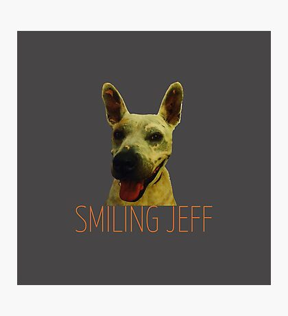 Smiling Jeff with Orange Text Photographic Print