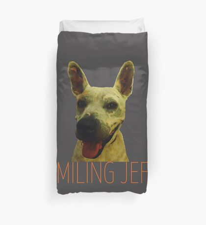 Smiling Jeff with Orange Text Duvet Cover