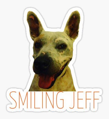 Smiling Jeff with Orange Text Sticker