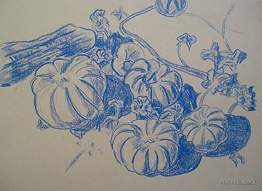 Fallbrook Pumpkins (Drawing of Lavender Hill Pumpkins) by Niki Hilsabeck