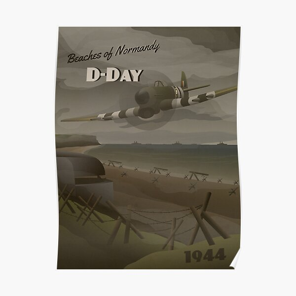 D-Day 1944 - Beaches of Normandy Travel Poster Poster