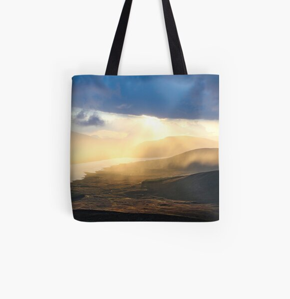 Evening shower over Loch Fannich All Over Print Tote Bag