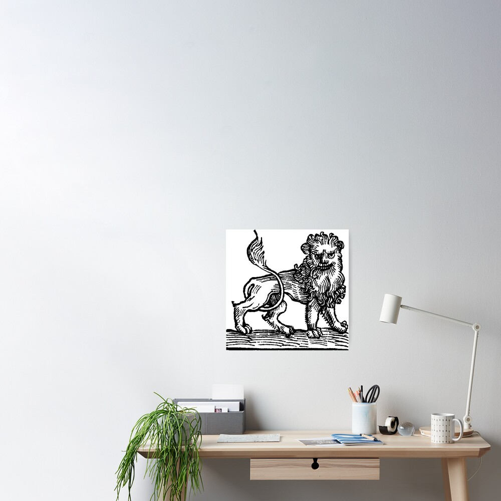 Medieval Zodiac Horoscope Leo the Lion Poster