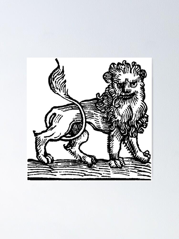 Alternate view of Medieval Zodiac Horoscope Leo the Lion Poster