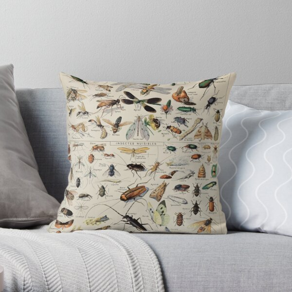 Adolphe Millot insectes Throw Pillow