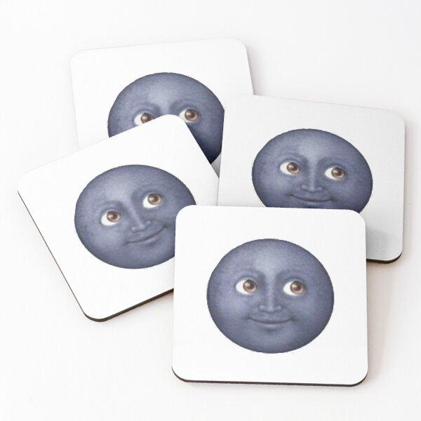 Black moon emoji Coasters (Set of 4)