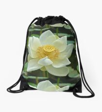 Spiritual Kloth White Lotus by Kordial Orange Drawstring Bag