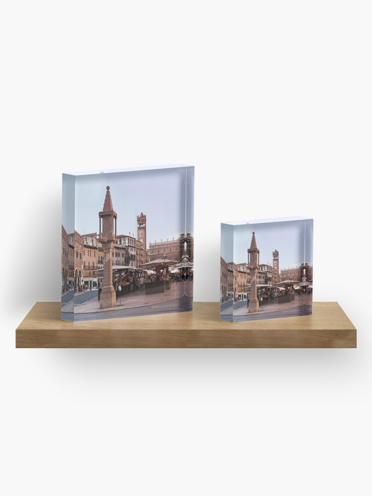 Alternate view of In Piazza Erbe, Verona, Italy Acrylic Block