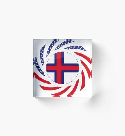 Faroe Islands American Multinational Patriot Flag Series Acrylic Block