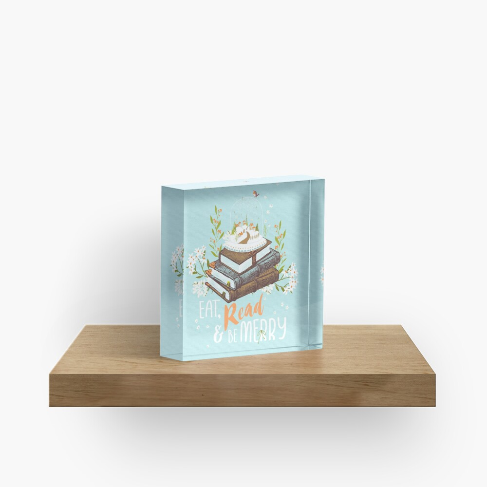 Eat, Read and Be Merry with Snow Globe Acrylic Block