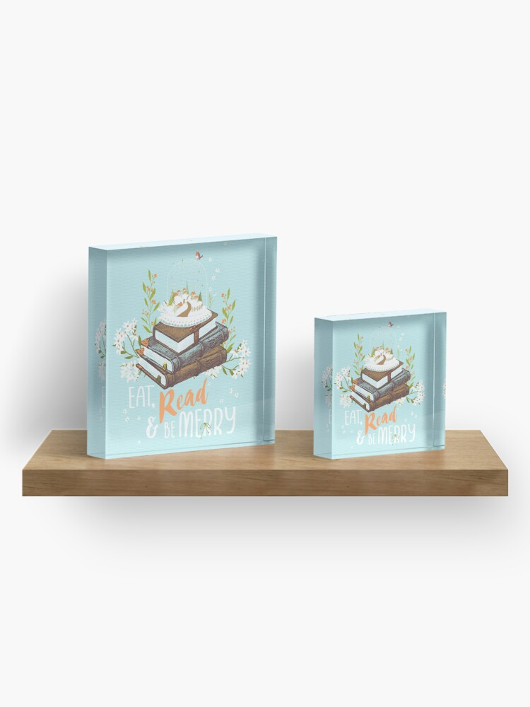 Alternate view of Eat, Read and Be Merry with Snow Globe Acrylic Block
