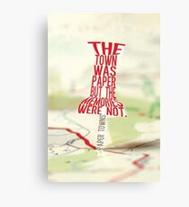 Town was paper Typography (Paper Towns 4 of 7) Canvas Print