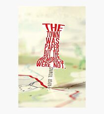 Town was paper Typography (Paper Towns 4 of 7) Photographic Print