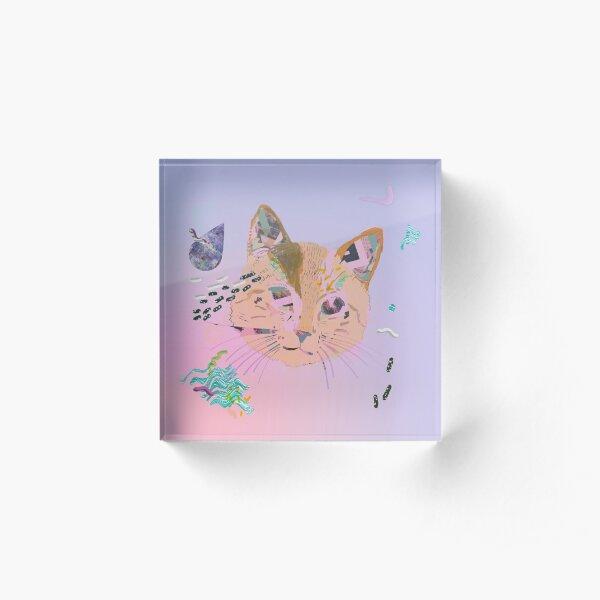 Cosmic Galaxy Cat Acrylic Block