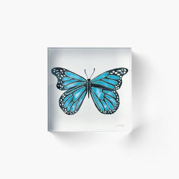 Blauer Morpho-Schmetterling Acrylblock