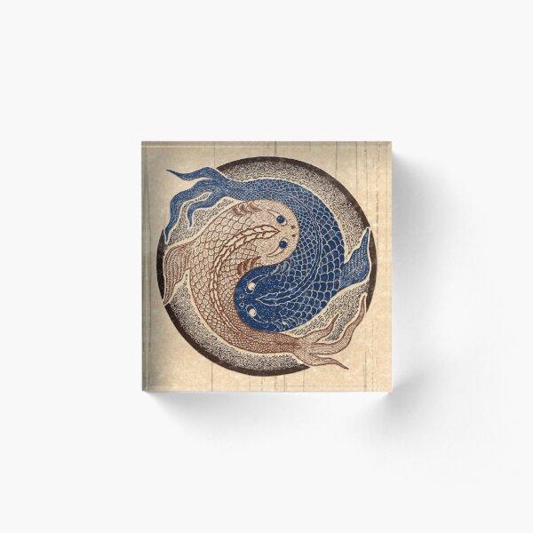 yin yang fish, shuiwudao mandala Acrylic Block