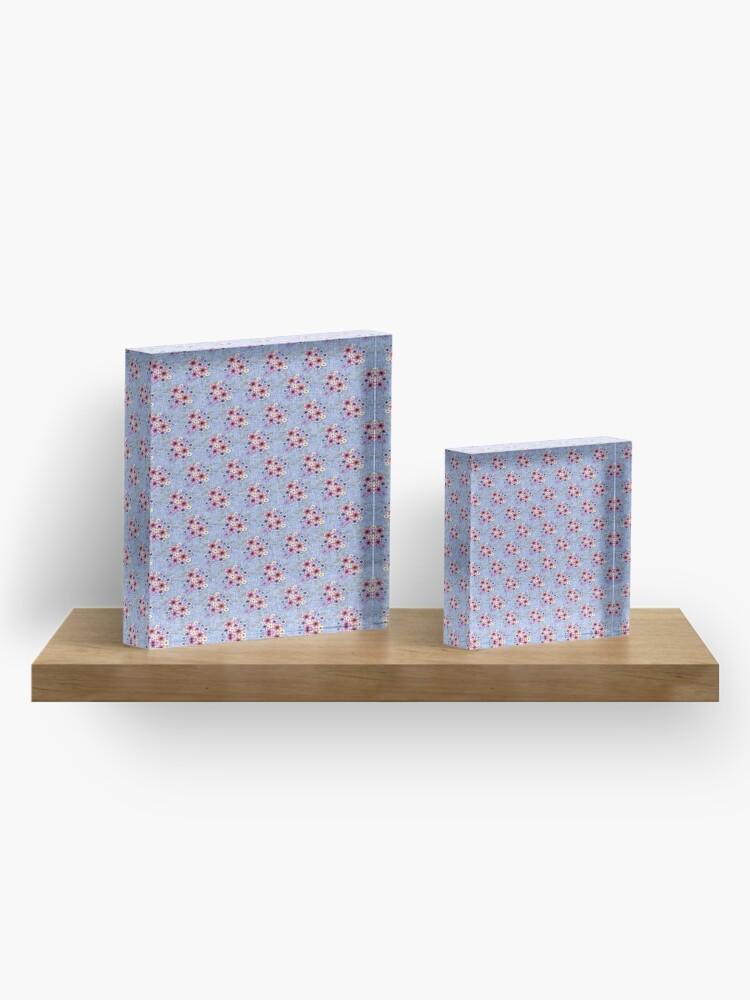 Vista alternativa de Bloque acrílico Blue Floral Clusters
