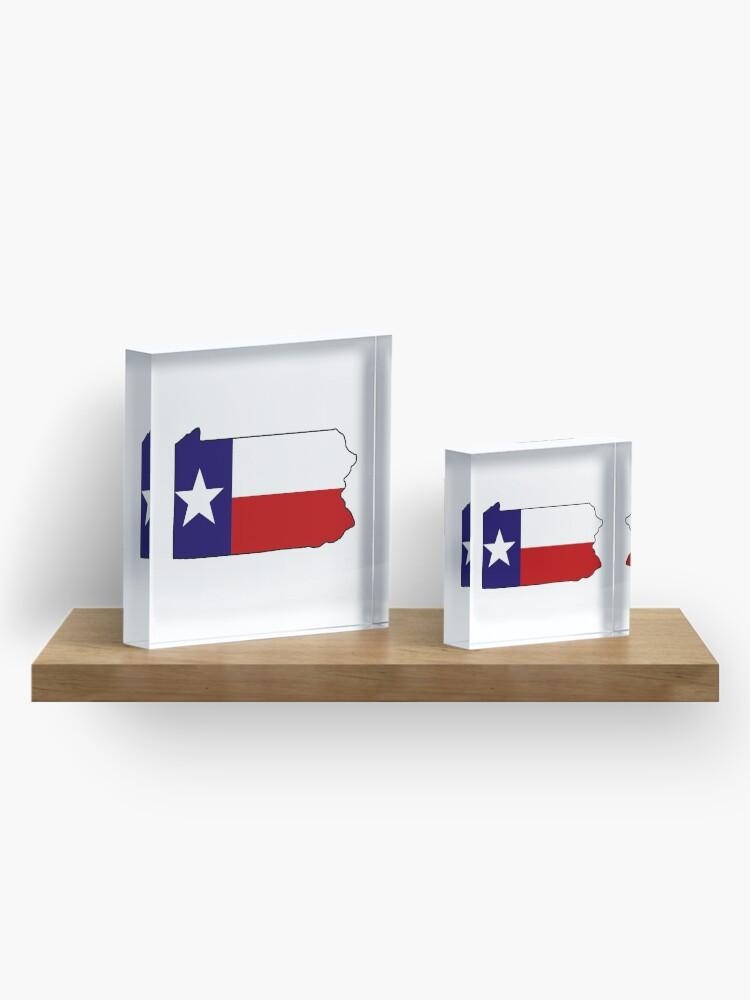 Alternative Ansicht von Texas Flagge Pennsylvania Gliederung Acrylblock