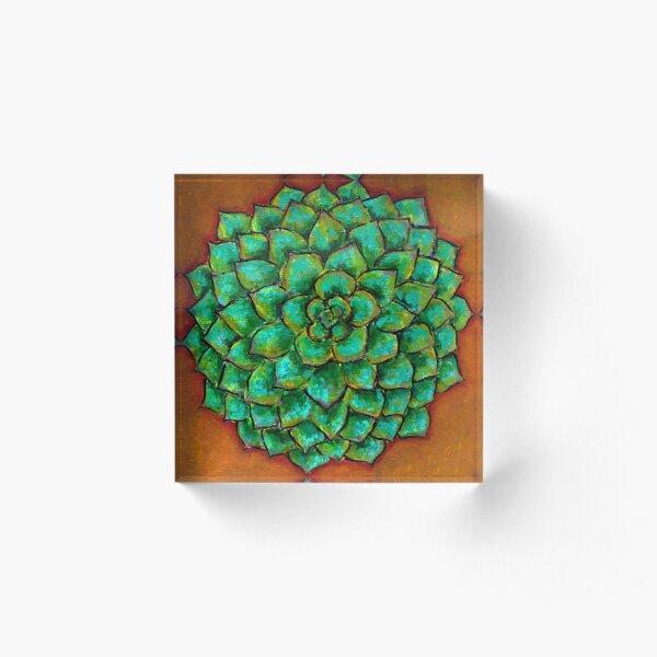 Succulent Mandala Acrylic Block