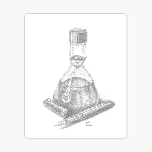 Bottle of Ink and Fountain Pen Sticker