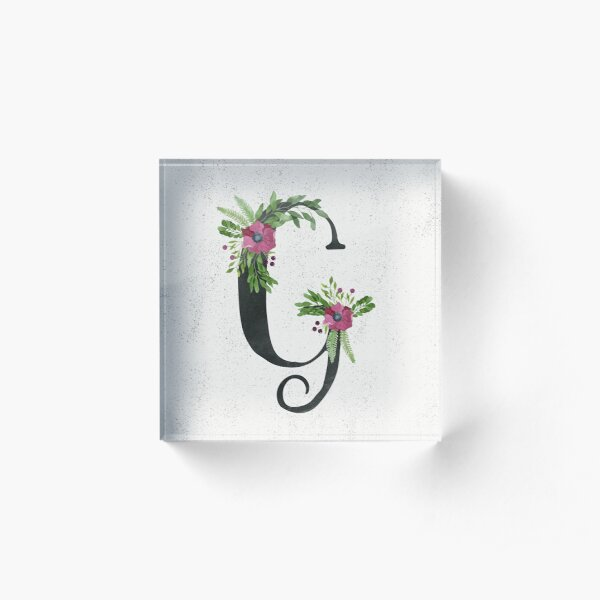 Monogram G with Floral Wreath Acrylic Block