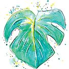 Monstera plant watercolor painting by twoeasels
