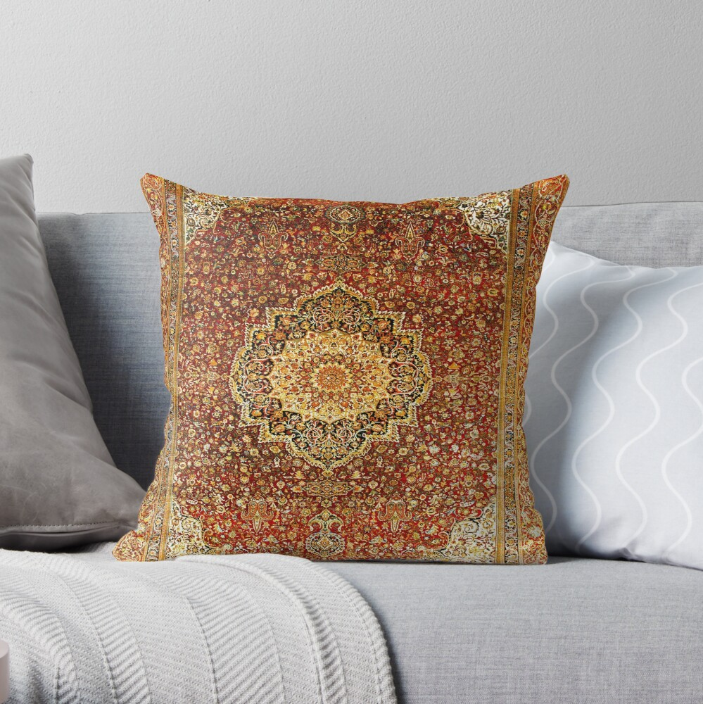 Khorasan Antique Persian Carpet Print Throw Pillow
