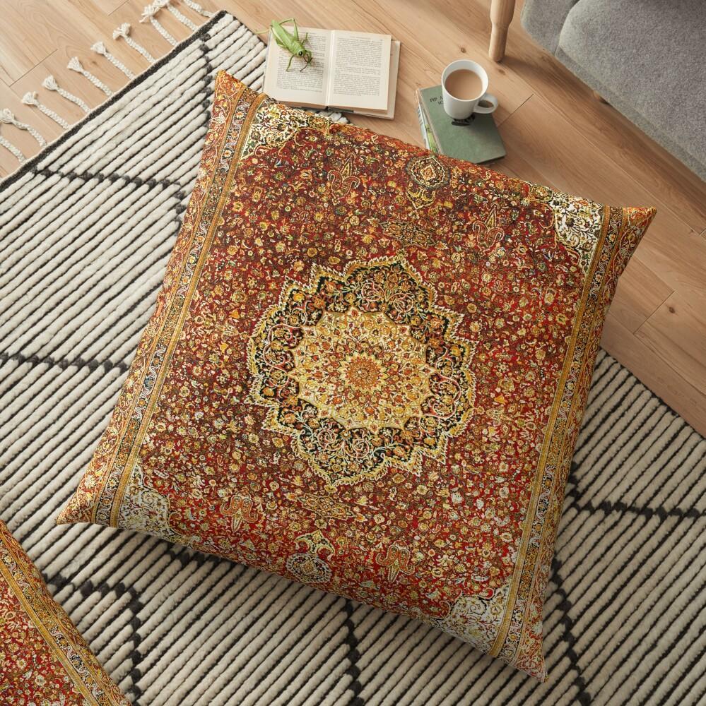 Khorasan Antique Persian Carpet Print Floor Pillow