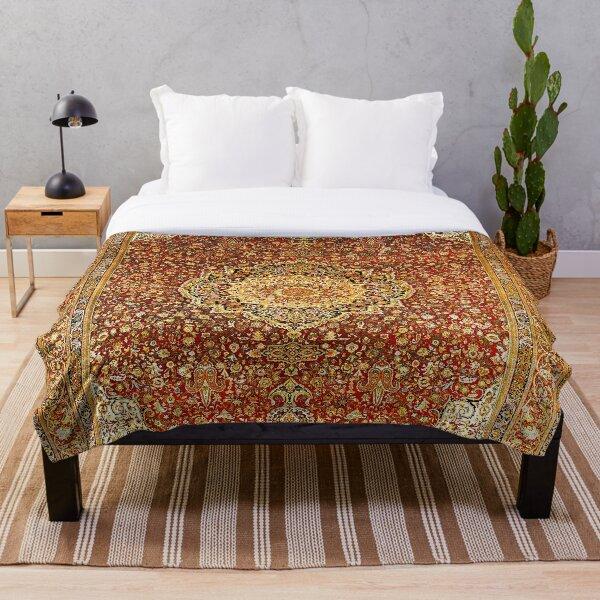 Khorasan Antique Persian Carpet Print Throw Blanket