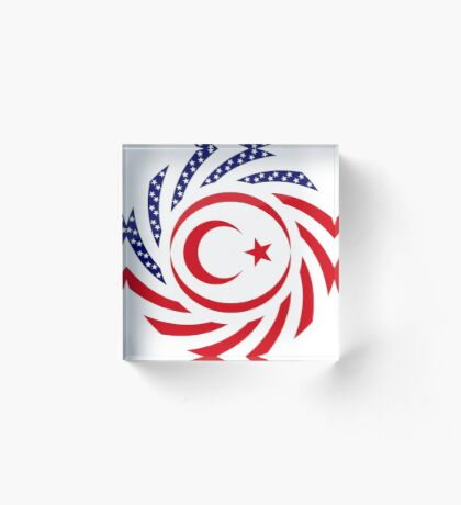 Northern Cyprus American Multinational Patriot Flag Series Acrylic Block