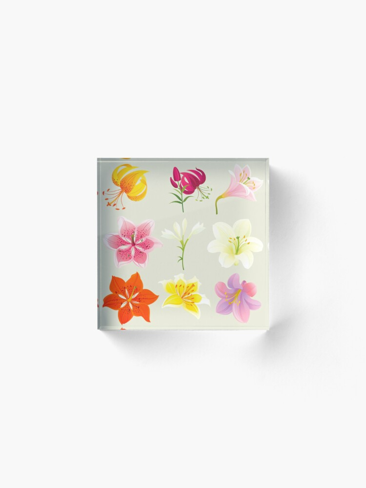 Alternate view of Colorful Lilies Acrylic Block